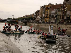 Pla general de tres de les embarcacions participants de la Transsegre 2019