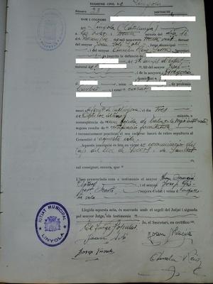 Document d'enterrament d'un soldat mort al Front del Segre a Vallfogona de Balaguer i enterrat a Linyola