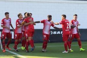 Imatge de la celebració d'un dels gols del Lleida Esportiu