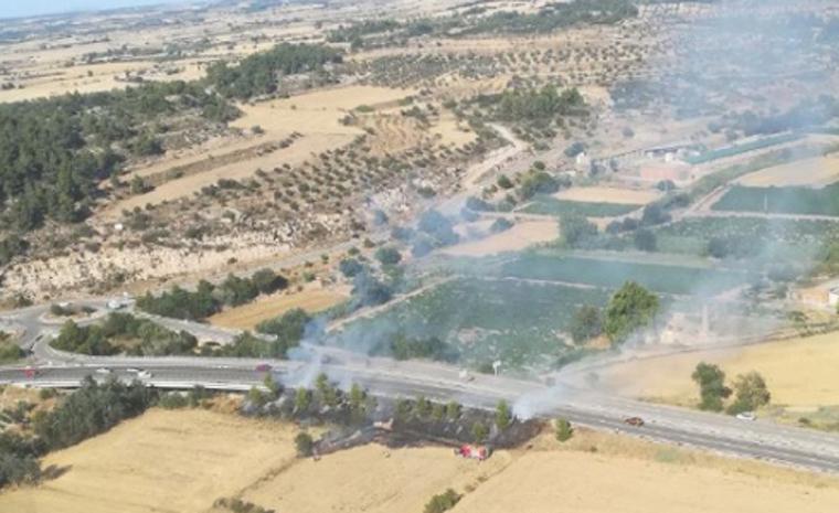 Vista aèria de l'incendi de Ciutadilla.