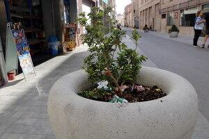 Pla mitjà on es pot veure una jardinera plena de papers al carrer Onze de Setembre