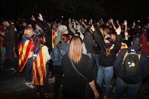 Pla general d'un grup de manifestants a prop de la subdelegació de l'Estat a Lleida