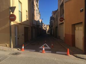La nova ordenació del trànsit del carrer Pau Casals d'Alcarràs