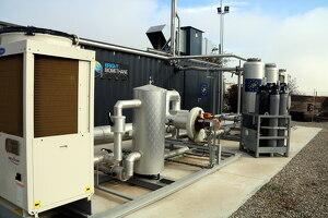 Pla mitjà on es pot veure la zona de filtratge de biogàs per transformar-lo en biometà