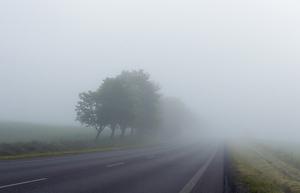 Imatge de l'autopista AP-2 amb molta boira, el dia 16 de gener de 2020.