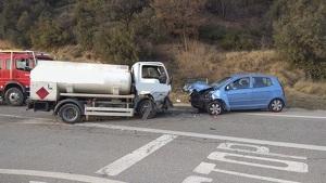 Imatge de l'accident registrat a l'N-260, a la Seu d'Urgell, el 2 de gener de 2020.