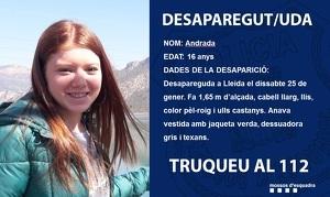 Els Mossos busquen l'Andrada, una jove desapareguda a Lleida, el dia 25 de gener.