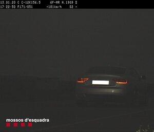 Imatge captada pel radar dels Mossos del vehicle que circulava a 181 km/h per la C-12