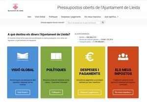 Captura de pantalla de la nova web de la Paeria, Pressupostos Oberts, posada en funcionament el dia 5 de febrer de 2020.