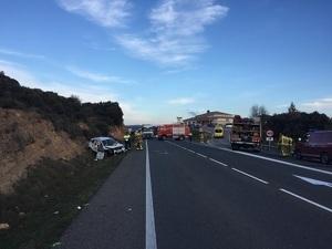 Imatge de l'accident de la C-14, a Vilanova de l'Aguda, on ha mort una persona, el dia 11 de febrer de 2020.