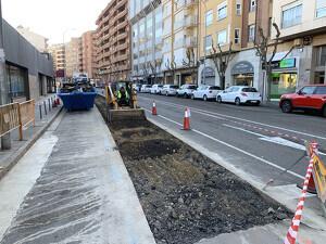 Imatge de les obres del carril bici a Lleida