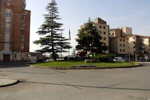 Pla obert on es pot veure una part del recinte firal de Mollerussa