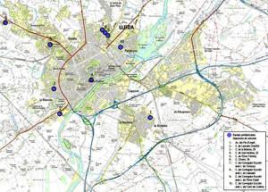 Plànol de la ubicació de les noves bandes reductores a Lleida