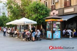 Imatges de la ciutat de Lleida en el primer dissabte a la fase 1 de la desescalada, el dia 23 de maig de 2020.