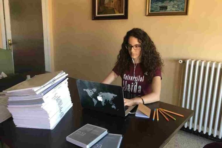 Imatge d'una noia asseguda davant d'un ordinador