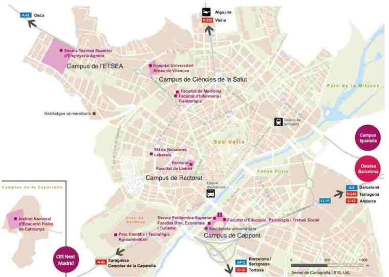 Mapa dels campus UdL a la capital del Segrià