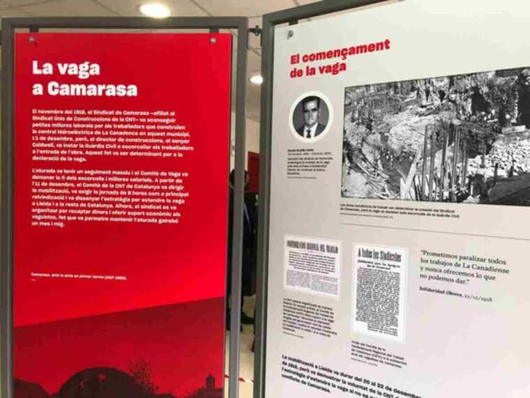 Pla obert de l'exposició 'La vaga de la Canadenca (1919-2019) al casal de Camarasa