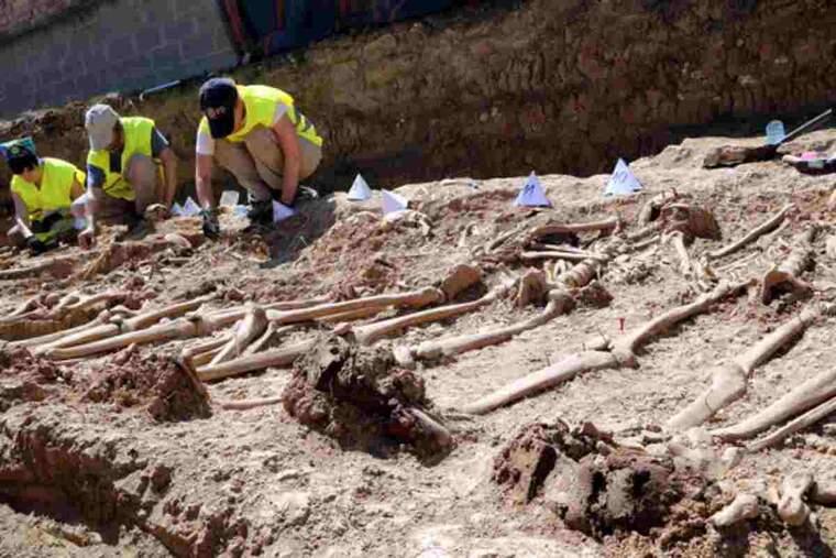 Primer pla de les restes d'unes botes militars que portava posades un dels soldats trobats a la fossa de Figuerola d'Orcau