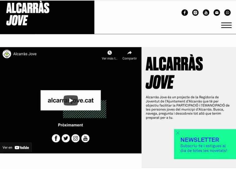 Imatge del web d'Alcarràs Jove