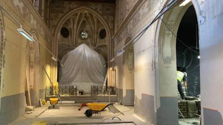 Pla general de les obres que s'estan duent a terme a l'interior de la capella de la Pietat