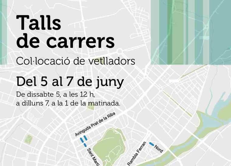 Imatge del cartell dels talls de trànsit a Lleida