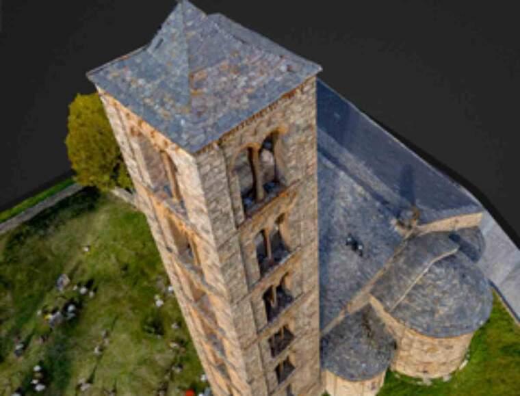 Imatge en 3D d'una església romànica de la Vall de Boí