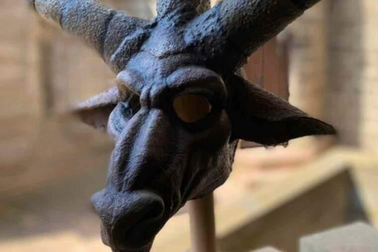 Detall de la nova màscara que estrenarà el Mascle Cabró a l'Aquelarre 2021