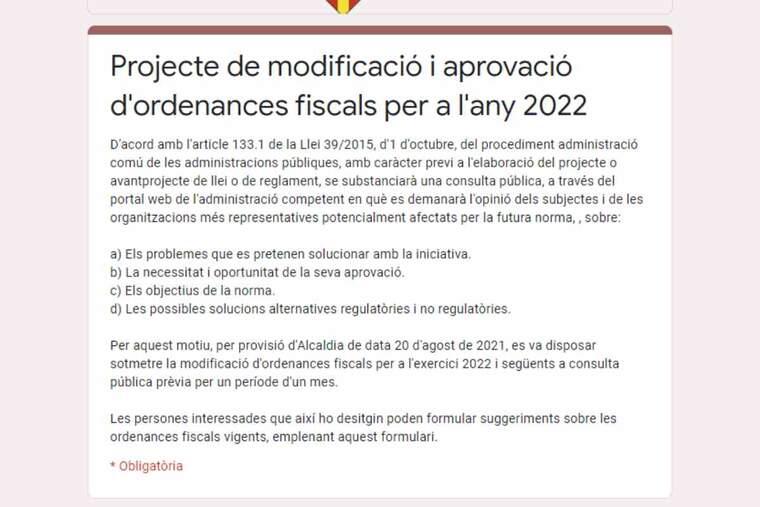 Imatge d'un formulari de l'Ajuntament de les Borges Blanques