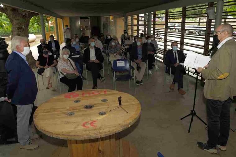 Imatge de la presentació de l'exposició sobre Joan Oró a Lleida