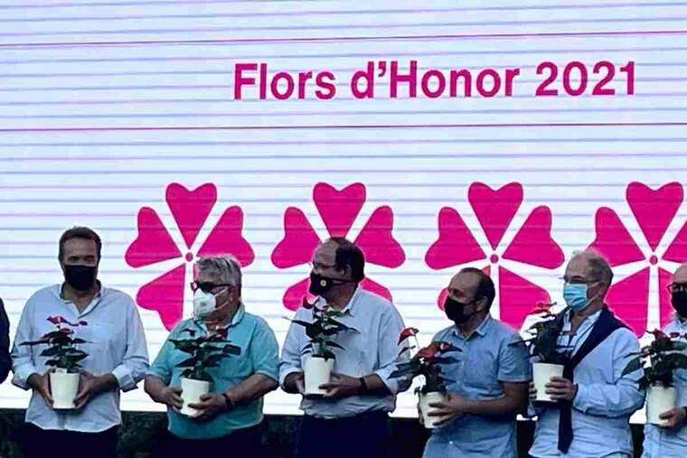 Imatge de l'entrega del premi Viles Florides a Almacelles