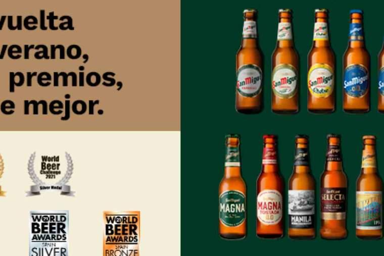 Imatge de les cerveses de San Miguel premiades