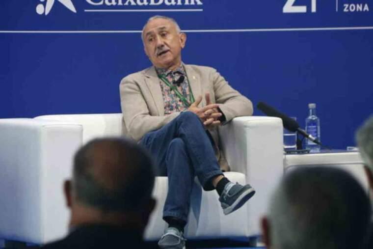 Pla obert del secretari general de la UGT, Pepe Álvarez, durant una de les seves intervencions al Cercle d'Economia