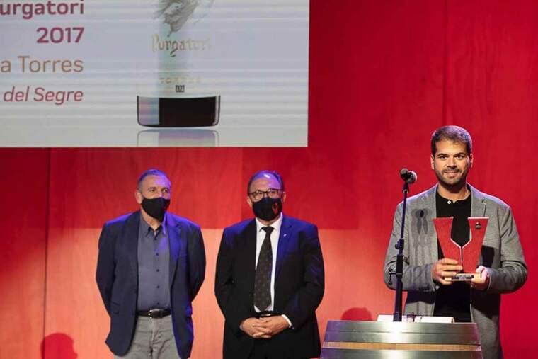 Imatge de la recollida del premi al millor vi de Catalunya