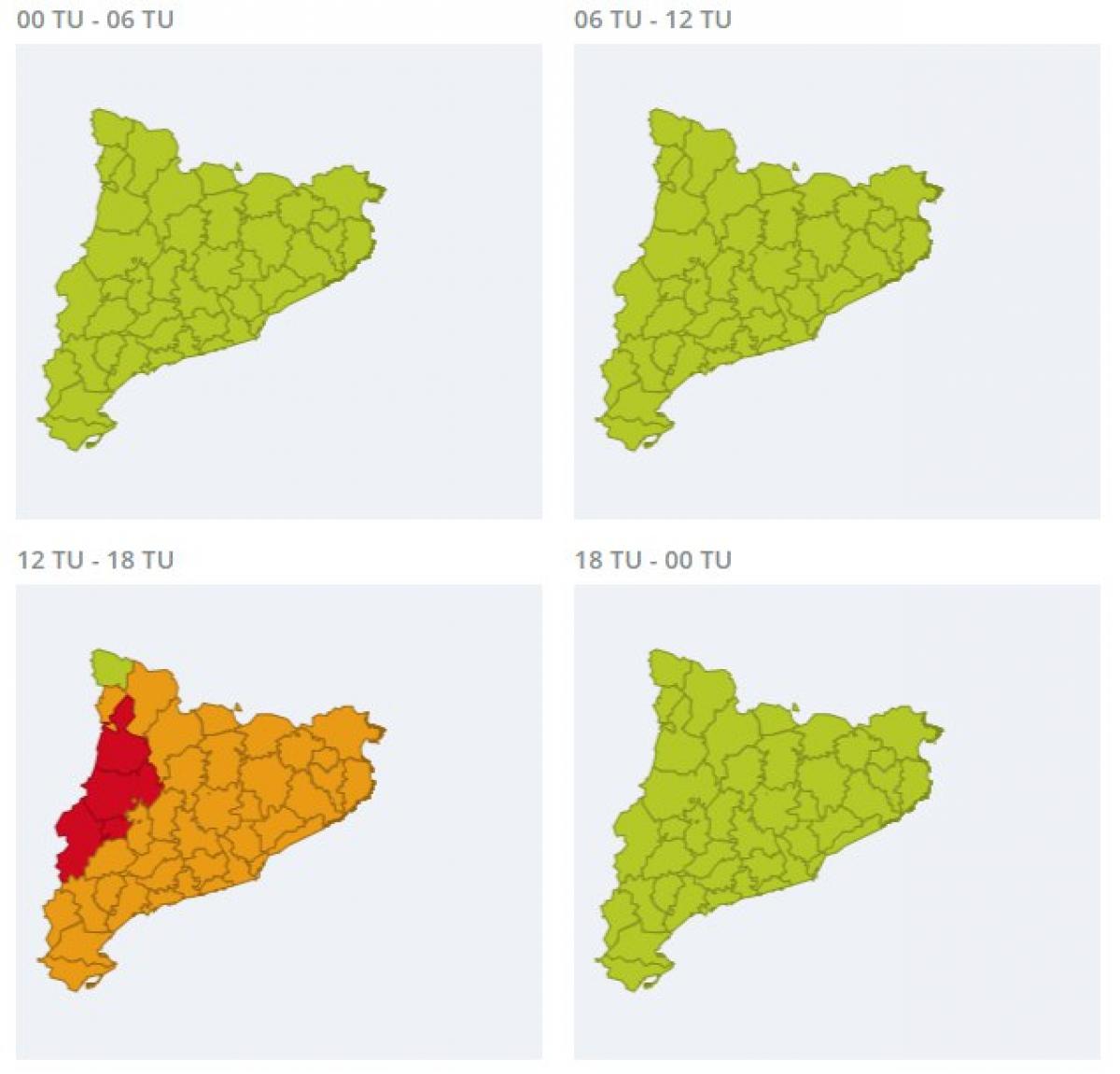 Avisos per onada de calor emesos pel Servei Meteorològic de Catalunya
