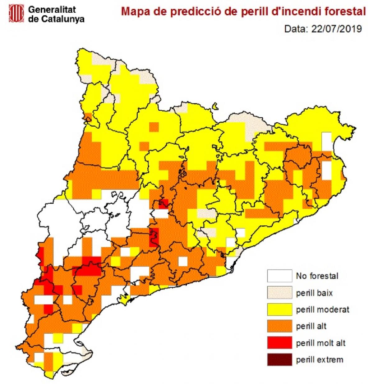 Mapa de predicció de perill d'incendi forestal.