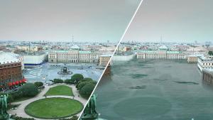 Imatge que mostra la ciutat de Sant Petersburg mig inundada en un futur