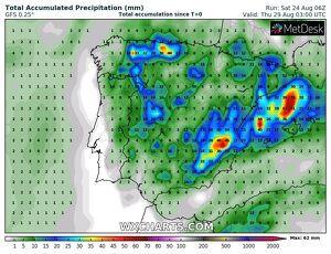 Acumulació de pluja prevista a Catalunya entre el dilluns i dijous