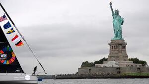 Greta Thunberg arribant a Nova York