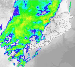 Imatge del Radar en un dels moments de pluja més extensa a l'oest de Catalunya