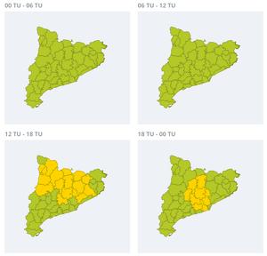 Mapa d'alertes per pluja forta aquest dissabte