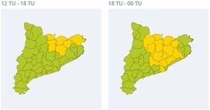 Mapa d'alertes per pluja forta aquest diumenge