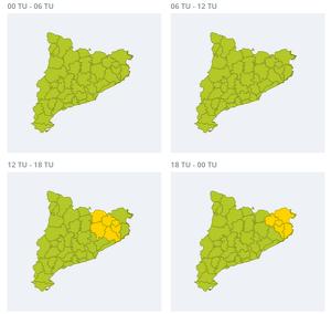 Mapa d'avisos per pluja forta aquest dimecres