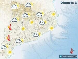 Mapa de la previsió per aquest dimarts