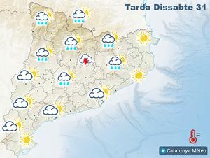 Mapa de previsió per aquest dissabte a la tarda