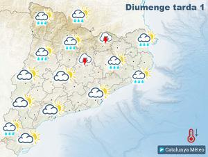 Mapa de previsió per aquest diumenge tarda
