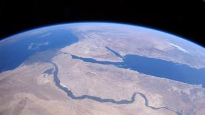 Vista del desert de Sahara i el riu Nil des de l'Estació Espacial Internacional