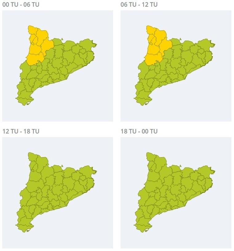 Mapa d'avisos per pluja intensa aquest dimarts