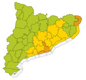 Mapa d'alerta per aiguats puntuals la propera nit