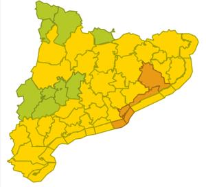 Mapa d'alerta per forta pluja a Catalunya a partir de la propera mitjanit