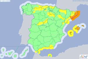 Mapa d'alertes per fortes tempestes dimarts
